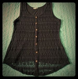 Button Down Lace Front Tank
